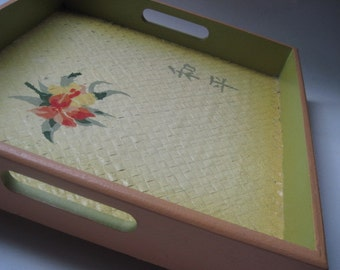 Vintage Painted Wood Tropical Asian Tray