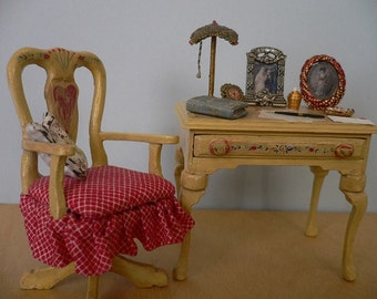 One Inch Scale Dollhouse Miniature Shabby Chic Chair and Desk