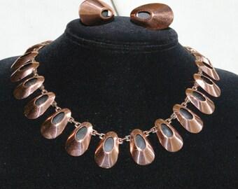 """Vintage Renoir Copper Demi Parure - Necklace and Earrings - """"Honey Bear"""" - Rare - 1950s"""