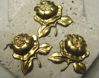"Vintage 3/4"" Rose Findings in Brass.  1 dz."