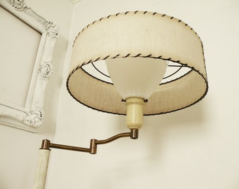 Vintage Ivory And Brass Swing Arm Floor Lamp With Drum Shade