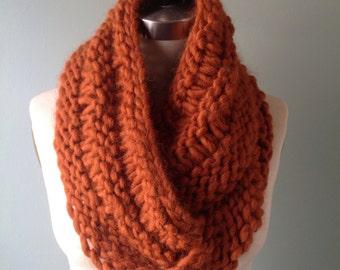 Hand-Knitted Alpaca & Wool Burnt Orange Scarf