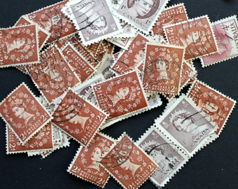 50 International Vintage Stamps of Queens - shades of Brown (lot 30)
