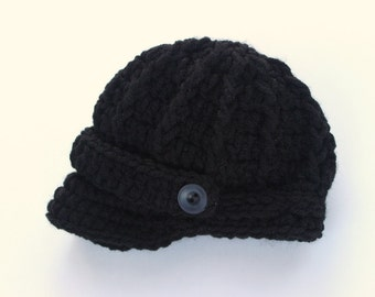Baby Boy Hat - Newborn Newsboy Cap / Brim / Beanie -Black - Knitted / Crochet - Baby / Infant /Baby Gifts