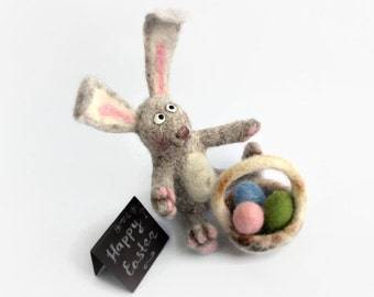 Needle Felted Easter gift bunny Happy Easter gift bunny with Easter basket Soft Sculpture OOAK miniature bunny