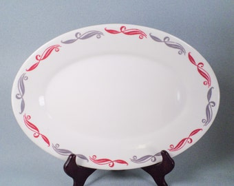 Platter, Gray and Burgundy, Homer Laughlin, Best China, Diner Dish, Family Style, Vintage, Made in America