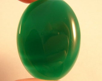 Natural Loose Green Agate 40 x 30 mm Oval Cabochon