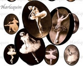 Ballerinas Vintage Style Cabochon Digital Printable Set of 20 for Jewelry, ATC, Charms, Magnets, Scrapbooks, Cards