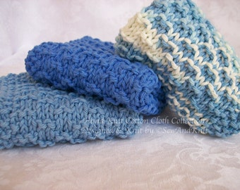 Knit Dish Cloth, Wash Cloths, Spa Cloths, Face Cloth - French Country Kitchen / Bath - Set of Three Hand Knit Cotton Cloths - Shades of Blue
