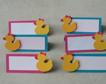 24 Girl Duck Placecards/Food table cards, Ducky Favor Tags, Rubber Duck,Duck Birthday, Ducky Baby Shower