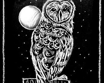 Barn Owl Book plate - Instant Printable Download - Chalk art bookplate design