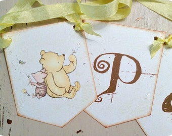 Classic Winnie the Pooh Banner - Custom Banner-Baby Banner-Birthday Banner-Classic Pooh Party-Pooh Birthday-Pooh Baby Shower-Shabby Banner