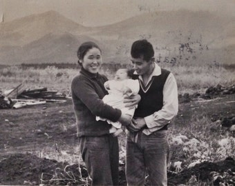 Original Antique Photograph Happy Couple with Baby 1964