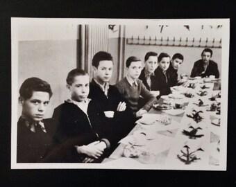 Original Antique Photograph Boys Club Dinner