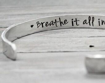 Inspiration Cuff, Yoga Bracelet, Inspiration Bracelet, Hand Stamped Cuff, Strength Cuff Bracelet,Handstamped Jewelry,Personal Jewelry