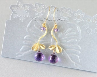 February Birthstone Earrings, Amethyst Micro Cut Heart Briolettes, Gold Twig Connectors, Gold-filled Wire and Earwire. Nature Inspired. E109