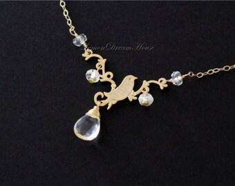 April Birthstone Necklace, Crystal Quartz Faceted Pear Briolette, Rondelles, Gold Bird on Twig Pendant Link, Gold-filled Chain. N137.