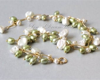 Pearl Cluster Bracelet, Gold-filled Chain, Freshwater Pearl, White Keshi Pearls, Potato Pearls, Wasabi Rice Pearls. Bridal, Bridesmaid. B026