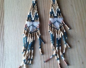 """RESERVED for banghan... The """" time traveler """" earrings... Native style seed beads"""