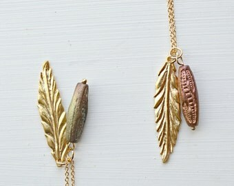 Gold Feather Necklace, Feather Pendant Summer Jewelry For Women