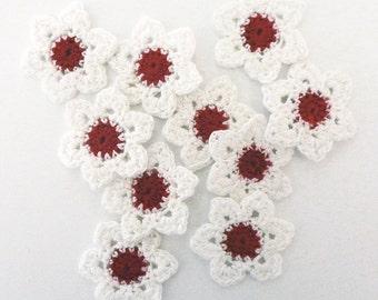 Flower appliques  #F019 decorations embellishments crochet 10 pieces 35 mm diameter weddings birthdays anniversaries celebrations