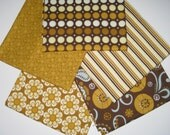 SPECIAL PRICING and a BONUS!  So Sophie, Brown Palette, Riley Blake Designs - Lot of 5 Fat Quarters and Remnant - Cotton Fabric