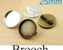 10 Brooch Pin - 25mm CUP Style Bezel Tray. Shiny Silver or Bronze. Optional  10 FLAT Glass and Seals 10 or 20 count. Brass. Ships from USA