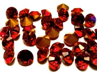 36 Siam 20ss Swarovski Round Rhinestones-Loose Rhinestones-Loose Swarovski Crystals-Wholesale Rhinestones