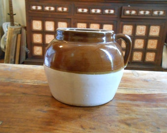Earthenware Pot with Handle and Maker's Stamp