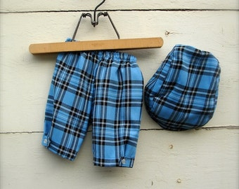 Baby boy Blue Plaid Boys Baby Pants & Hat and Bow Tie,  Blue Baby boys pants with hat, baby boy suit, birthday outfit for boys  0-3 months