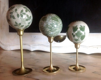 Hand Styled Ceramic Orbs upon Vintage Brass Stems Set of Three Tabletop Decor Finials