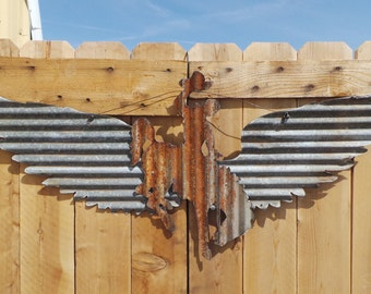 Corrugated Metal Wings with Bronc/Rodeo/Western/Cowboy/ FREE SHIPPING