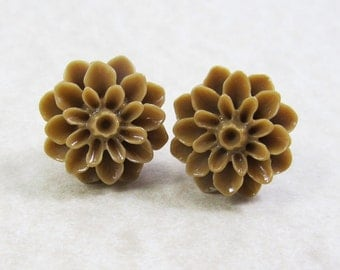 Post Stud Earrings - 15mm Sepia Brown Resin Dahlia Flowers - Surgical Steel Posts (G-14)
