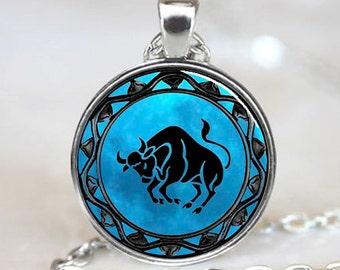 Taurus Pendant, Taurus Necklace, Taurus Jewelry, Taurus Charm, Silver (PD0342)