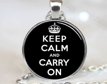 Keep Calm And Carry On  Pendant, Black Charm With Necklace, Silver Plated  (PD0241)