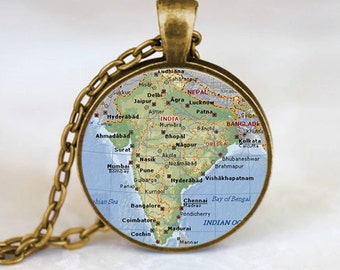 India Map Pendant, India Map Necklace, India Map Jewelry, India Map Charm, Bronze (PD0471)
