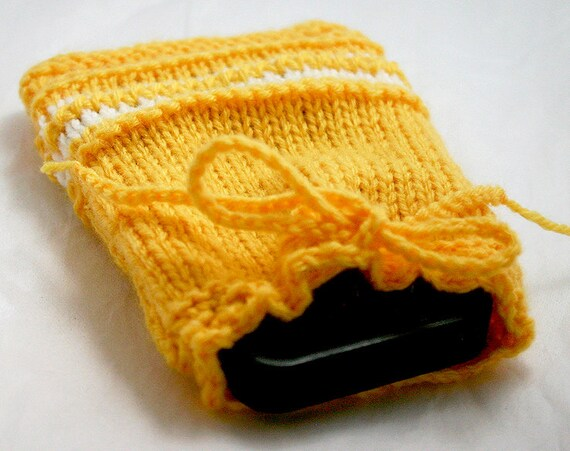 Yellow Hand Knit Cozy- Drawstring Pouch- Embroidered White Stripe- Hand Knitted Bag
