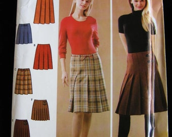 Simplicity Misses Womens Pleated Skirt Sewing Pattern 4961 Size 6 8 10 12  UC FF Uncut