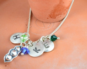 Mom, Mothers Day,  Mother of 3,  3 Peas in a Pod, Sterling Silver Pea Pod,  Birthstone, Mother's Day, Grandmother, Mother of 3, Pea Pod, Mom