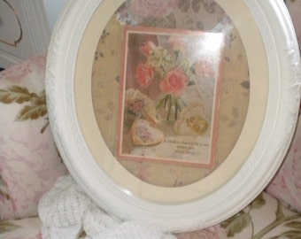 Beautiful Re Purposed Ornate Oval Frame With Center Rose Embellishments, Shabby Chic, Mother Plaque, French Country,Cottage Chic