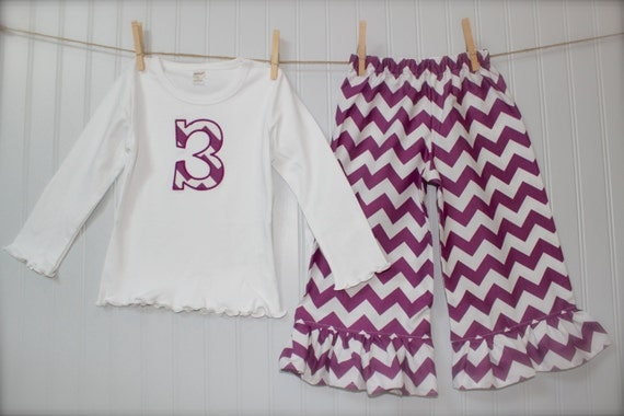 RILEY BLAKE CHEVRON pant with initial or numeral tee set - create you own- many colors & sizes