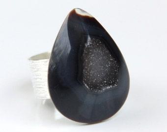 Black Druzy Ring, Drusy, Geode, Adjustable Statement Ring