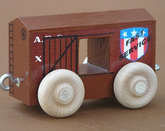 Wooden Toy Train.  Rust Red Open Box Car.