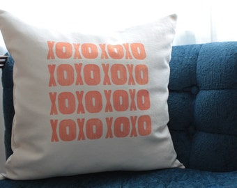 XOXO pillow in peach | love pillow cover | anniversary gift | wedding gift