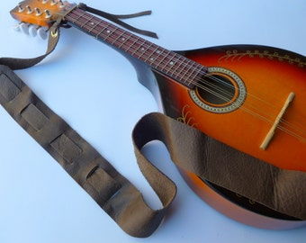 Dark Brown Leather Mandolin Strap - Adjustable length
