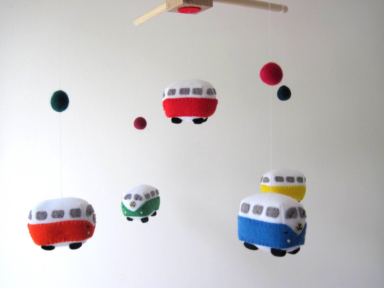 vw campervan felt mobile toy car kombi bus felt baby mobile - 🔎zoom