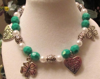 Saint Patrick's Green and White Beaded Bracelet with Silver Charms