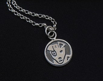 Sterling silver Jack russell hand etched pendant - Ooak - 19 inch sterling belcher chain