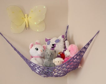 "Mini ""Lovey Corral"" - Toy Hammock - Stuffed Animal Organizer in Lavender Purple"