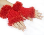 Fingerless Gloves, Red, Hand knit fingerless gloves, Handmade Gloves, Lolita Gloves, Chic, Boho knit glove mittens
